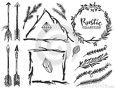 rustic decorative elements with lettering hand drawn vintage stock vector image 54000460