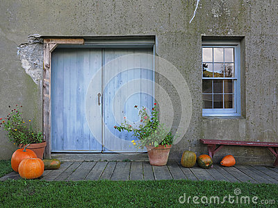Rustic Doorway With Autumn Decoration