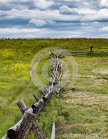 Free Rustic Fence In Wyoming Stock Image - 61493141