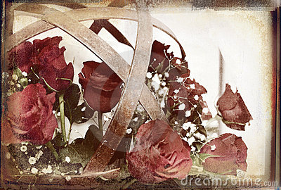 Rustic flower ball overlaid on rich grunge texture