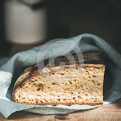 Free Rustic French Rye Bread Loaf On Wooden Board, Square Crop Stock Image - 94305191