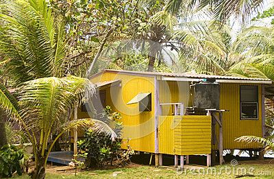 Rustic guest  cabana Little Corn Island Nicaragua Central Americ