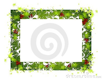 Rustic Holly Leaves Christmas Frame 2