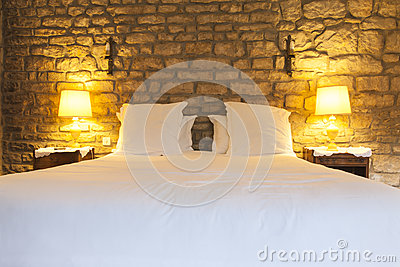 Rustic hotel bedroom