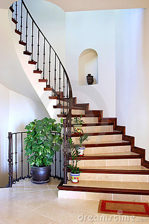 Rustic interior hallway and stairs of large Spanish Villa