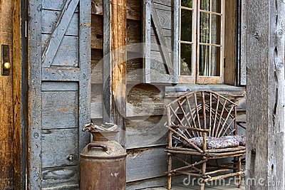 Rustic lodge front porch