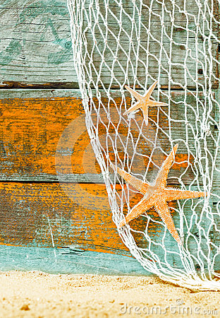Free Rustic Marine Background With Starfish Stock Images - 39390374
