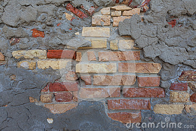 Rustic Mixed Brick Wall And Concrete Patch Pattern