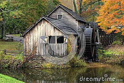 Rustic Old Gristmill in Fall season