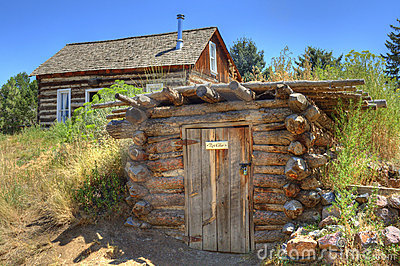 Rustic Old Time Log Cabin And Root Cellar Stock Image