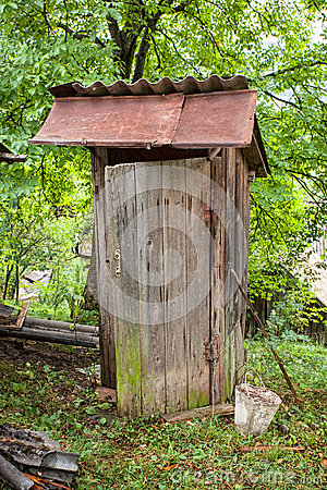 Rustic old wooden toilet