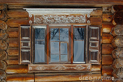 Rustic ornate window Stock Photo