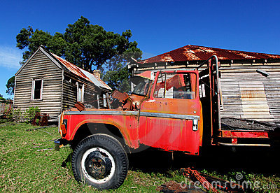 Rustic red truck