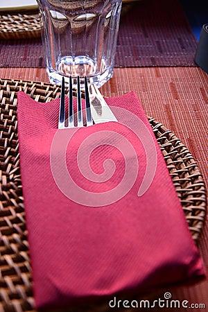Rustic restaurant table setting