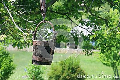 Rustic Romanian wooden well bucket- Valcea region