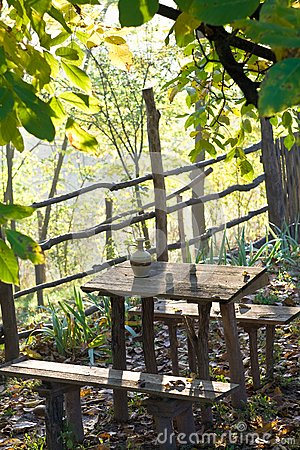 Rustic table with water pot