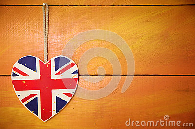 Rustic Union Jack heart decoration