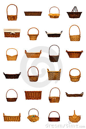 Rustic Wicker Basket Collection Isolated on White