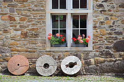 Rustic Window With Geraniums