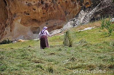rustic woman working in field (with straws)
