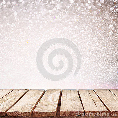 Free Rustic Wood Table In Front Of Glitter Bokeh Lights Stock Photography - 60043612