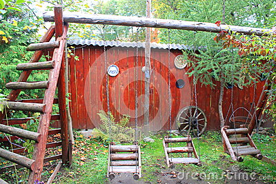 Rustic wooden playground