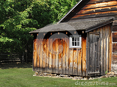Rustic wooden shed