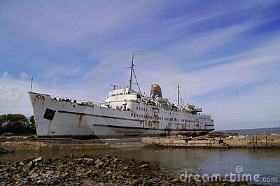 Rusting old passenger ship