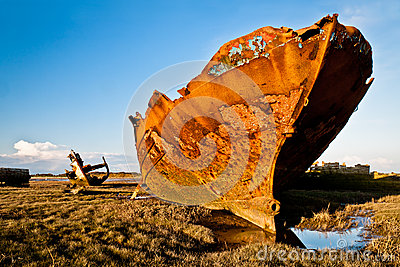 Rusting Trawlers and blue sky