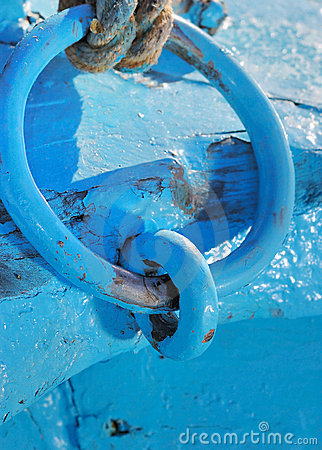 Rusty blue paint metal chain