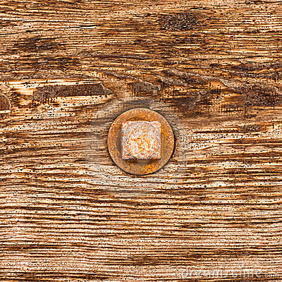 Free Rusty Bolt Head On Wood Royalty Free Stock Image - 16197506