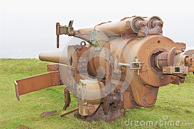 Rusty cannon from the World War 2 era