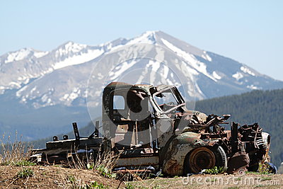 Rusty car remains in Rocky Mountains