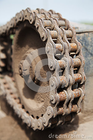 Rusty chain link drive