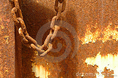 Rusty chain over rusty background