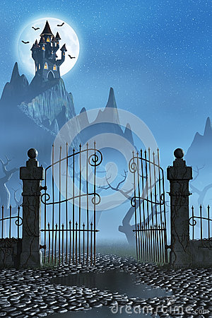 Free Rusty Gate And A Spooky Dark Castle Stock Image - 58503151