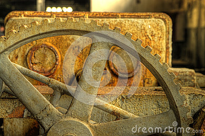Rusty gear closeup hdr photo