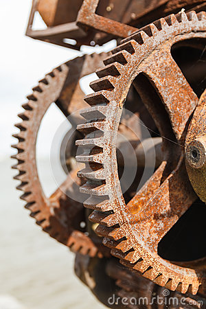 Free Rusty Gears And Winch Mechanism Fort Alexander Stock Photography - 81493392