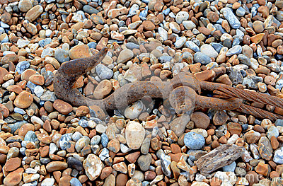 Rusty hook and cable on shingle