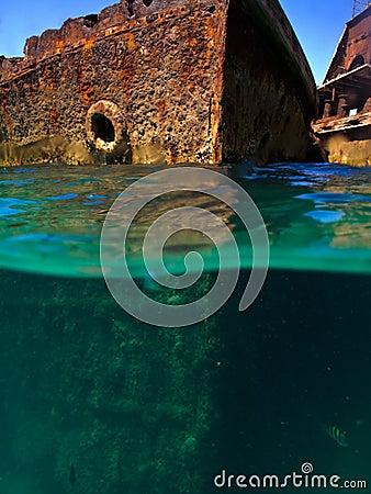 Rusty hull of a ship