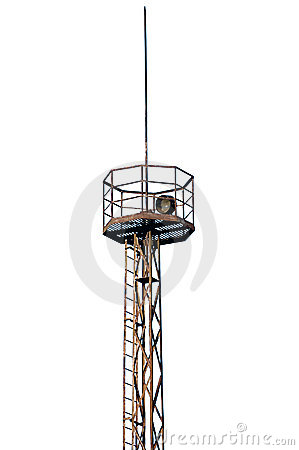 Rusty industrial searchlight tower isolated