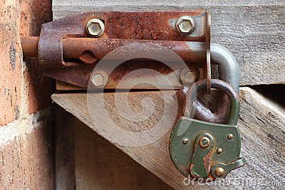 Rusty latch with padlock