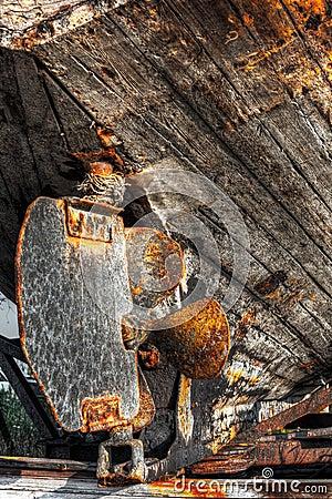 Rusty lead screw of a ship