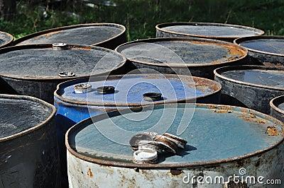 Rusty metal barrels
