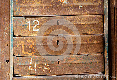 Rusty metal mailboxes stock photo image 54583580 for Raised metal letters