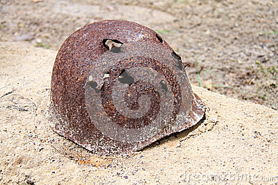 Rusty military helmet
