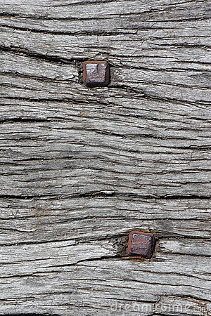 Rusty nails in wood texture