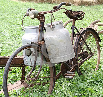 Free Rusty Old Bike Of The Milkman With Two Old Milk Cans And Broken Royalty Free Stock Photos - 44831528