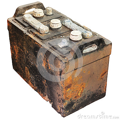 Free Rusty Old Car Battery Isolated On White Royalty Free Stock Photography - 27587617