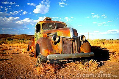 Rusty old car in Namibia